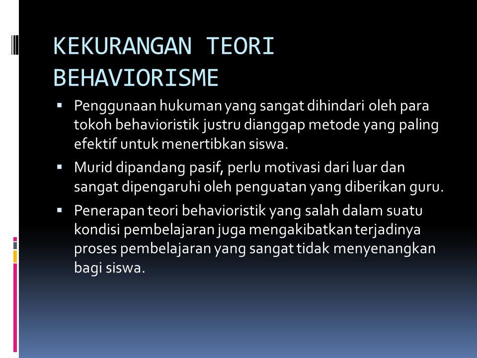 KEKURANGAN TEORI BEHAVIORISME  Penggunaan hukuman yang sangat dihindari oleh para tokoh behavioristik justru dianggap metode yang paling efektif untuk menertibkan siswa.