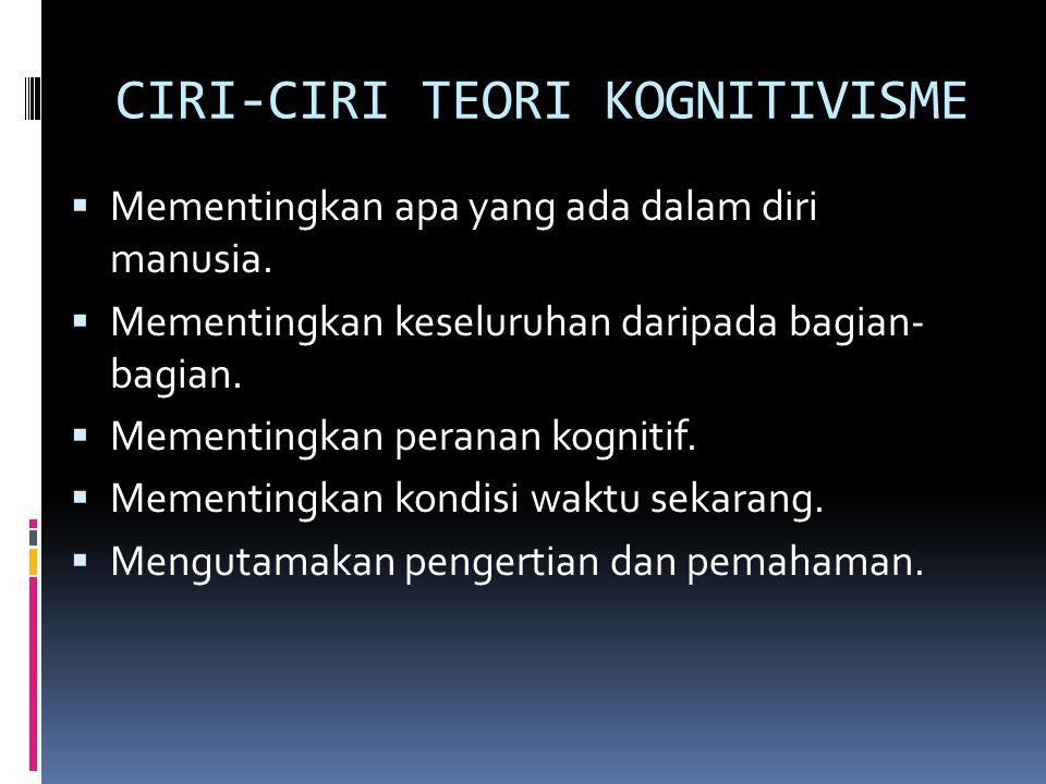 CIRI-CIRI TEORI KOGNITIVISME  Mementingkan apa yang ada dalam diri manusia.