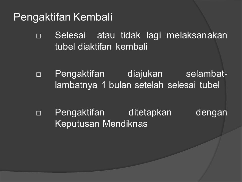 Pengaktifan Kembali □ Selesai atau tidak lagi melaksanakan tubel diaktifan kembali □Pengaktifan diajukan selambat- lambatnya 1 bulan setelah selesai tubel □Pengaktifan ditetapkan dengan Keputusan Mendiknas
