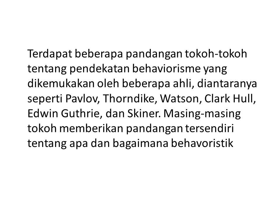 Terdapat beberapa pandangan tokoh-tokoh tentang pendekatan behaviorisme yang dikemukakan oleh beberapa ahli, diantaranya seperti Pavlov, Thorndike, Wa