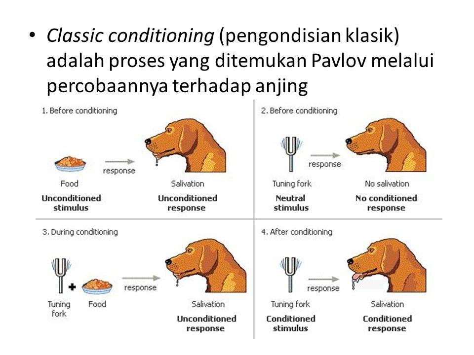 Classic conditioning (pengondisian klasik) adalah proses yang ditemukan Pavlov melalui percobaannya terhadap anjing