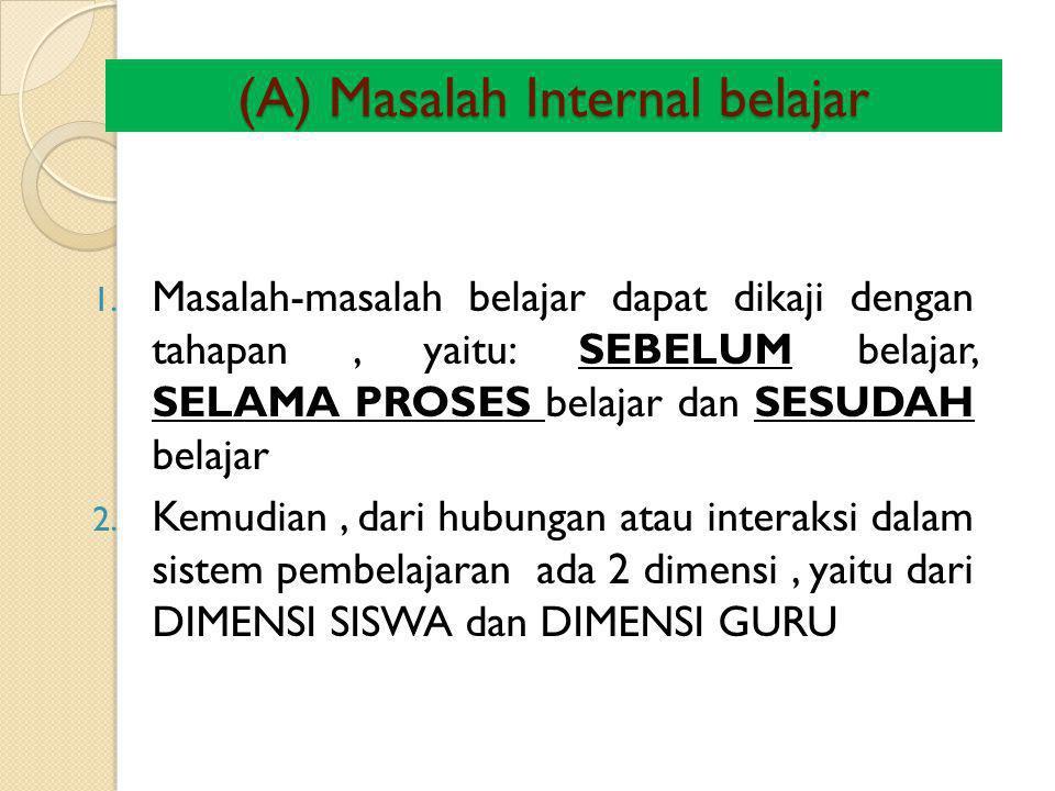 (A) Masalah Internal belajar 1. Masalah-masalah belajar dapat dikaji dengan tahapan, yaitu: SEBELUM belajar, SELAMA PROSES belajar dan SESUDAH belajar
