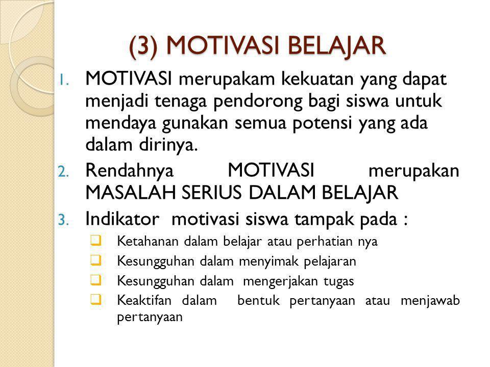 (3) MOTIVASI BELAJAR 1. MOTIVASI merupakam kekuatan yang dapat menjadi tenaga pendorong bagi siswa untuk mendaya gunakan semua potensi yang ada dalam