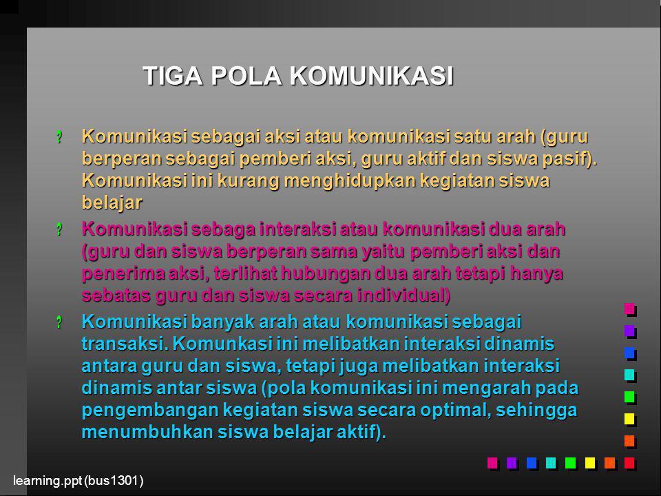 learning.ppt (bus1301) STRATEGI MEMBANGUN KOMUNIKASI DALAM PBM .