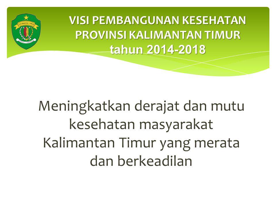 Meningkatkan derajat dan mutu kesehatan masyarakat Kalimantan Timur yang merata dan berkeadilan VISI PEMBANGUNAN KESEHATAN PROVINSI KALIMANTAN TIMUR tahun 2014-2018
