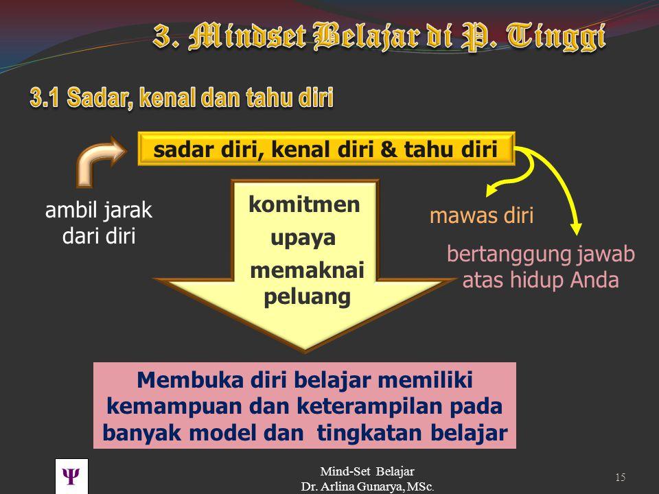 Ψ Tingkah Laku Persepsi, attitude, emosi, kehendak dst Falsafah tentang Diri dan kehidupan (ranah spiritual ) Values Pikiran Beliefs Kompetensi & skil