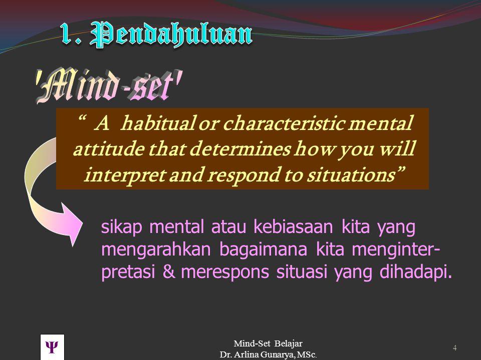 Ψ Mind-Set Belajar Dr. Arlina Gunarya, MSc. 3