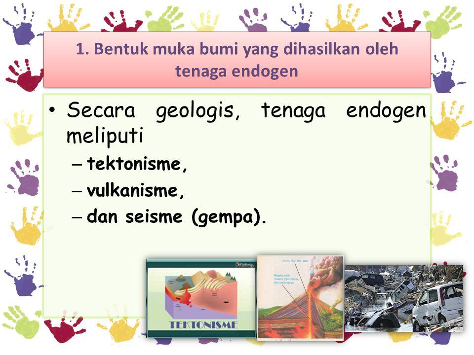 1. Bentuk muka bumi yang dihasilkan oleh tenaga endogen Secara geologis, tenaga endogen meliputi – tektonisme, – vulkanisme, – dan seisme (gempa).