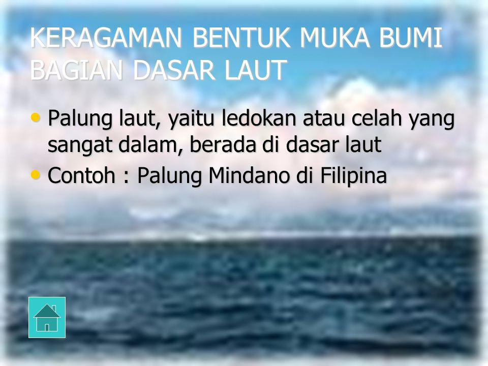 KERAGAMAN BENTUK MUKA BUMI BAGIAN DASAR LAUT 1. Palung Laut 1. Palung Laut 1. Palung Laut 1. Palung Laut 2. Ambang Laut 2. Ambang Laut 2. Ambang Laut