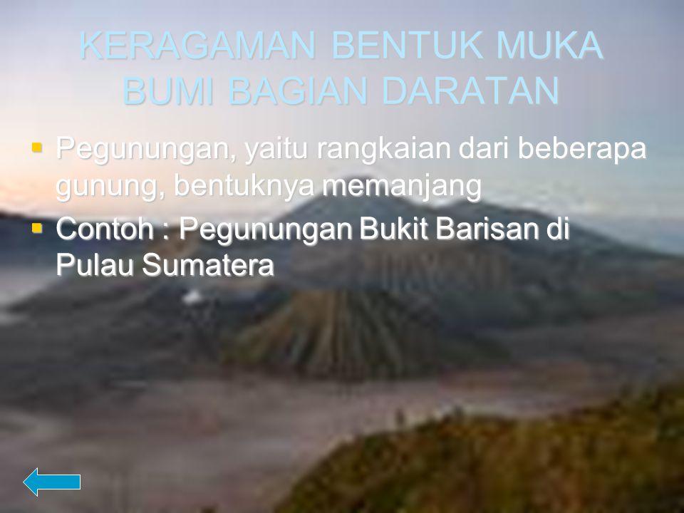 KERAGAMAN BENTUK MUKA BUMI BAGIAN DARATAN Lembah, yaitu daerah ledokan/lebih rendah dari tempat sekitarnya