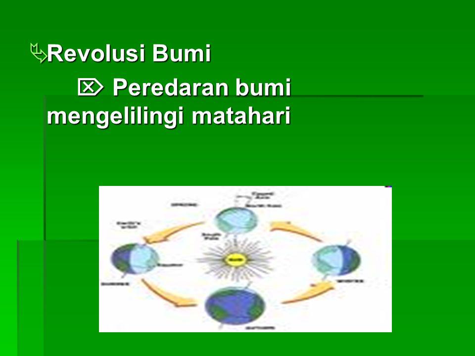  Revolusi Bumi  Peredaran bumi mengelilingi matahari