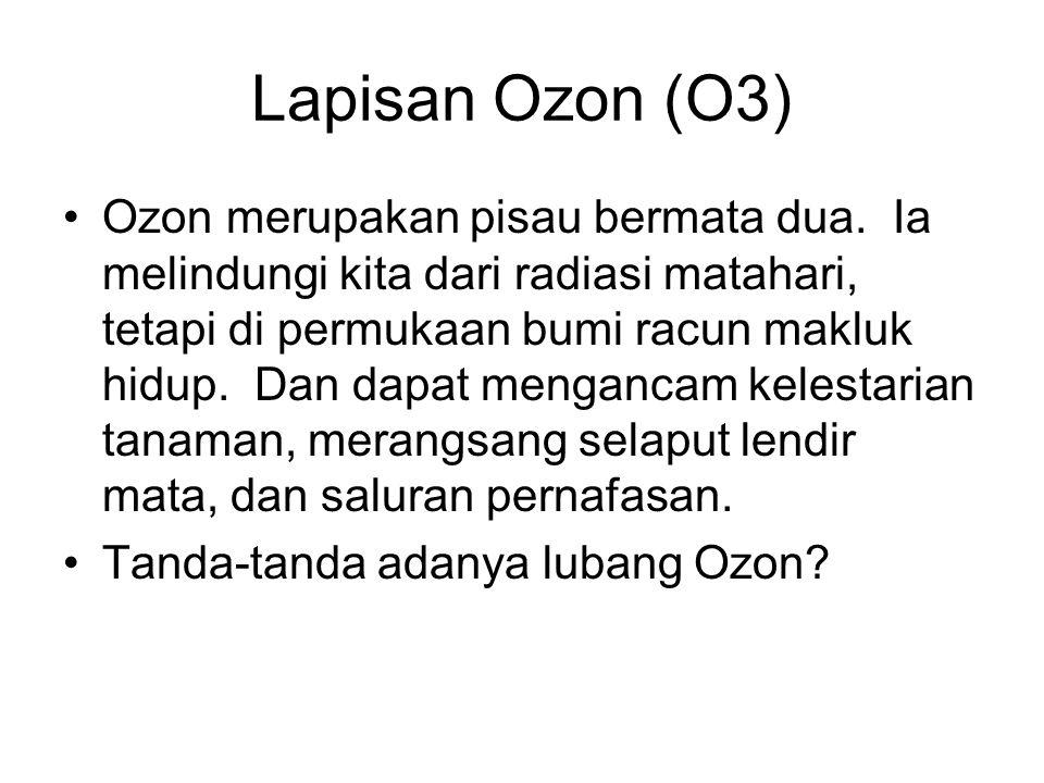 Lapisan Ozon (O3) Ozon merupakan pisau bermata dua. Ia melindungi kita dari radiasi matahari, tetapi di permukaan bumi racun makluk hidup. Dan dapat m