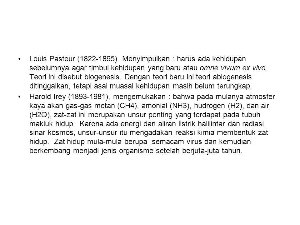 Louis Pasteur (1822-1895). Menyimpulkan : harus ada kehidupan sebelumnya agar timbul kehidupan yang baru atau omne vivum ex vivo. Teori ini disebut bi