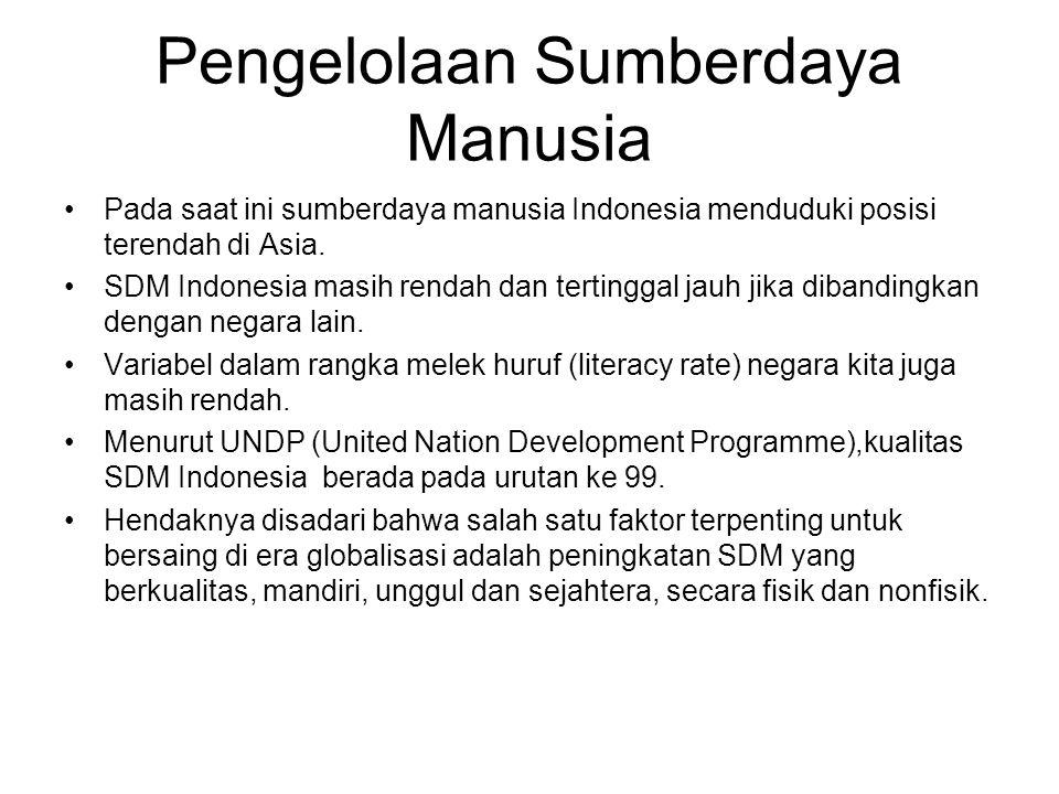 Pengelolaan Sumberdaya Manusia Pada saat ini sumberdaya manusia Indonesia menduduki posisi terendah di Asia. SDM Indonesia masih rendah dan tertinggal