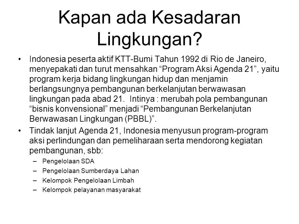 "Kapan ada Kesadaran Lingkungan? Indonesia peserta aktif KTT-Bumi Tahun 1992 di Rio de Janeiro, menyepakati dan turut mensahkan ""Program Aksi Agenda 21"