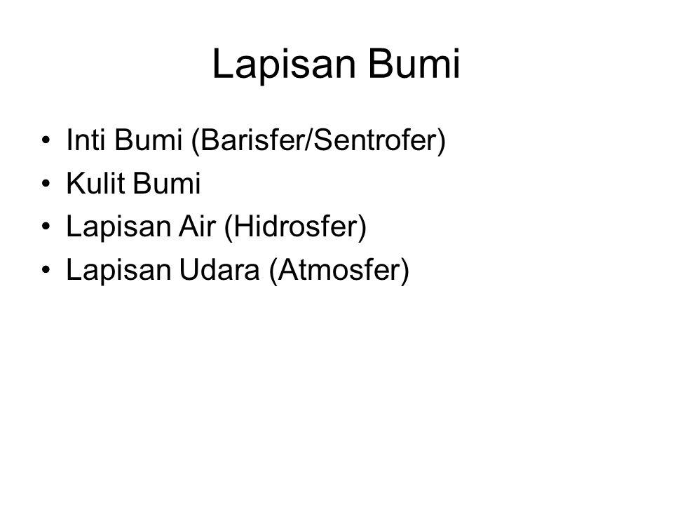 Lapisan Bumi Inti Bumi (Barisfer/Sentrofer) Kulit Bumi Lapisan Air (Hidrosfer) Lapisan Udara (Atmosfer)