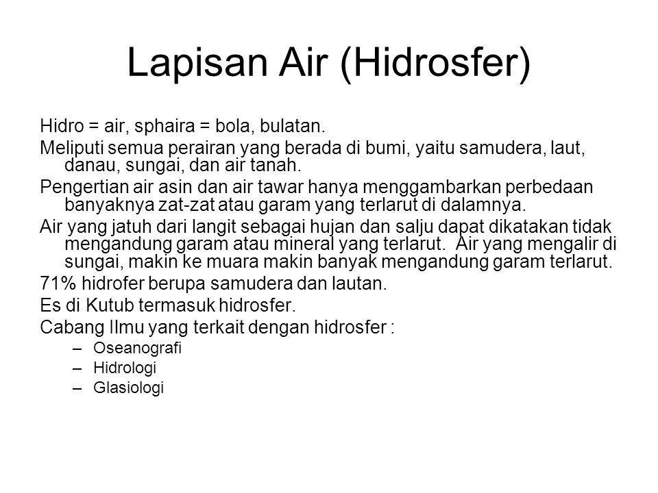 Lapisan Air (Hidrosfer) Hidro = air, sphaira = bola, bulatan. Meliputi semua perairan yang berada di bumi, yaitu samudera, laut, danau, sungai, dan ai