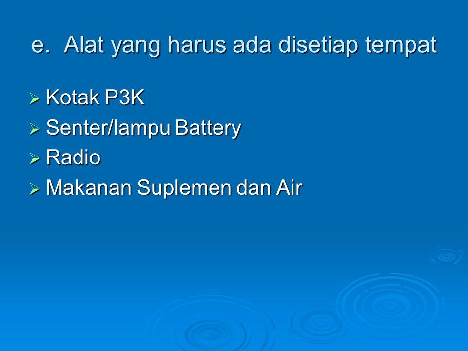 e. Alat yang harus ada disetiap tempat  Kotak P3K  Kotak P3K  Senter/lampu Battery  Senter/lampu Battery  Radio  Radio  Makanan Suplemen dan Ai
