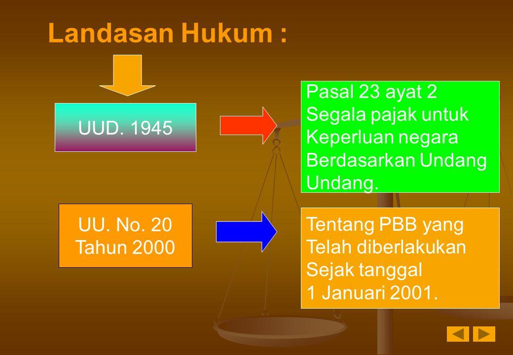 Landasan Hukum : UUD. 1945 Pasal 23 ayat 2 Segala pajak untuk Keperluan negara Berdasarkan Undang Undang. UU. No. 20 Tahun 2000 Tentang PBB yang Telah