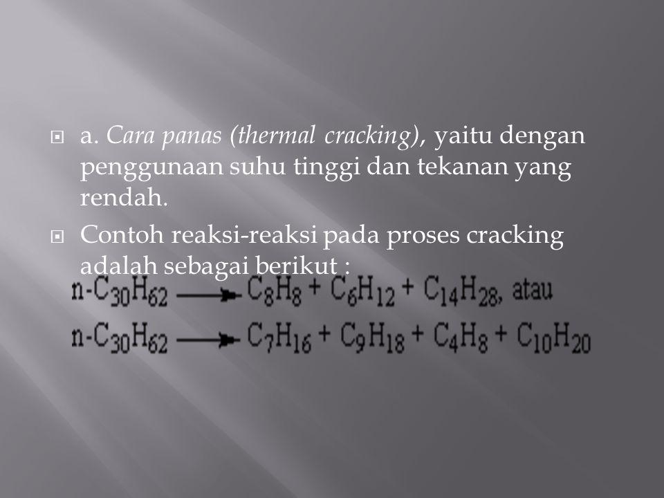  a. Cara panas (thermal cracking), yaitu dengan penggunaan suhu tinggi dan tekanan yang rendah.  Contoh reaksi-reaksi pada proses cracking adalah se