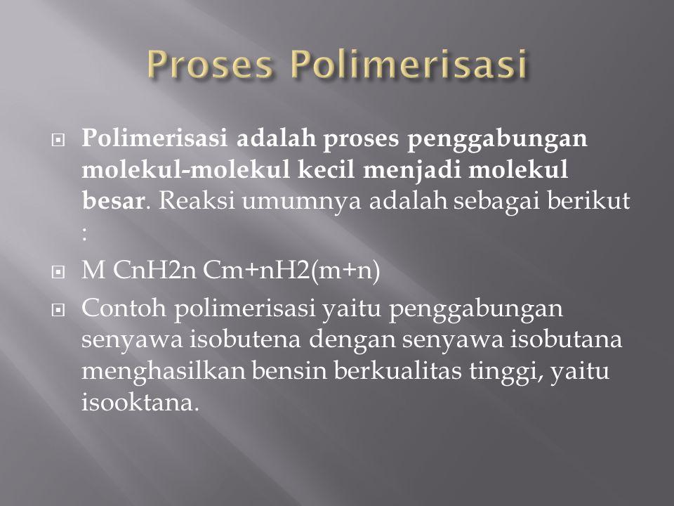  Polimerisasi adalah proses penggabungan molekul-molekul kecil menjadi molekul besar. Reaksi umumnya adalah sebagai berikut :  M CnH2n Cm+nH2(m+n) 