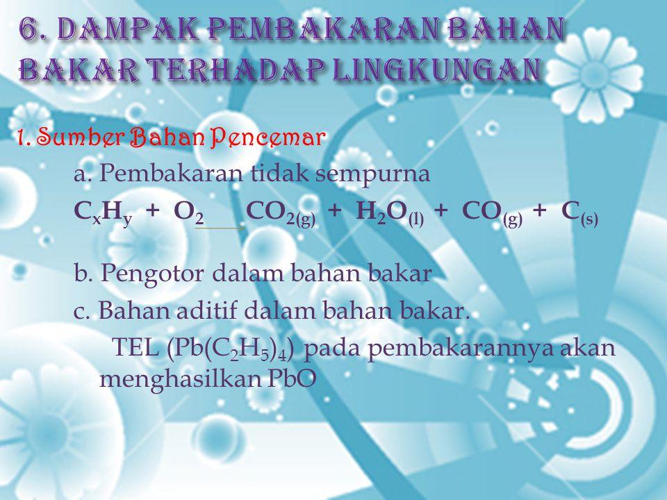 1. Sumber Bahan Pencemar a. Pembakaran tidak sempurna C x H y + O 2 CO 2(g) + H 2 O (l) + CO (g) + C (s) b. Pengotor dalam bahan bakar c. Bahan aditif