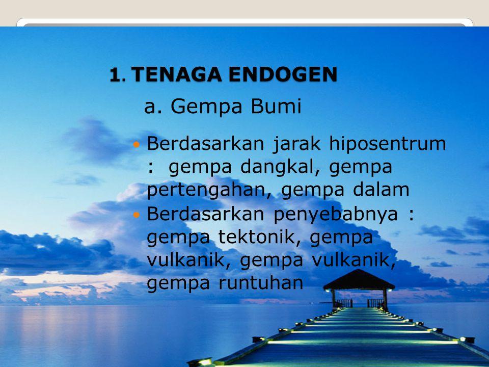 TENAGA PENGUBAH BENTUK PERMUKAAN BUMI 1. Tenaga Endogen ( Tektonik )2. Tenaga Eksogen