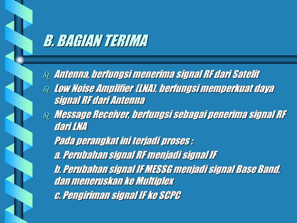 b SCPC (Single Channel per Carrier), berfungsi sebagai pemancar sinyal-sinyal informasi dari Multiplex b High Power Ampilfier (HPA), berfungsi untuk m
