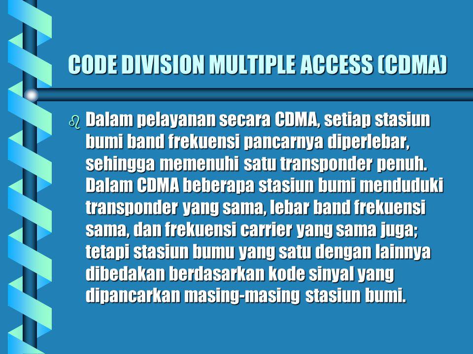 TIME DIVISION MULTIPLE ACCESS (TDMA) b Dalam pelayanan TDMA, setiap stasiun bumi dibedakan celah waktu pancarnya, sedangkan frekuensi pancarnya sama s