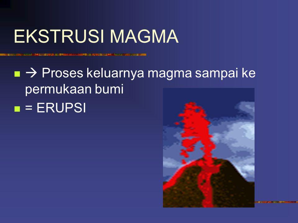 Macam-macam hasil intrusi magma Batolit : dapur magma yang membeku Lakolit : bentukan yang cembung ke atas dan datar di bawah yang terletak di antara