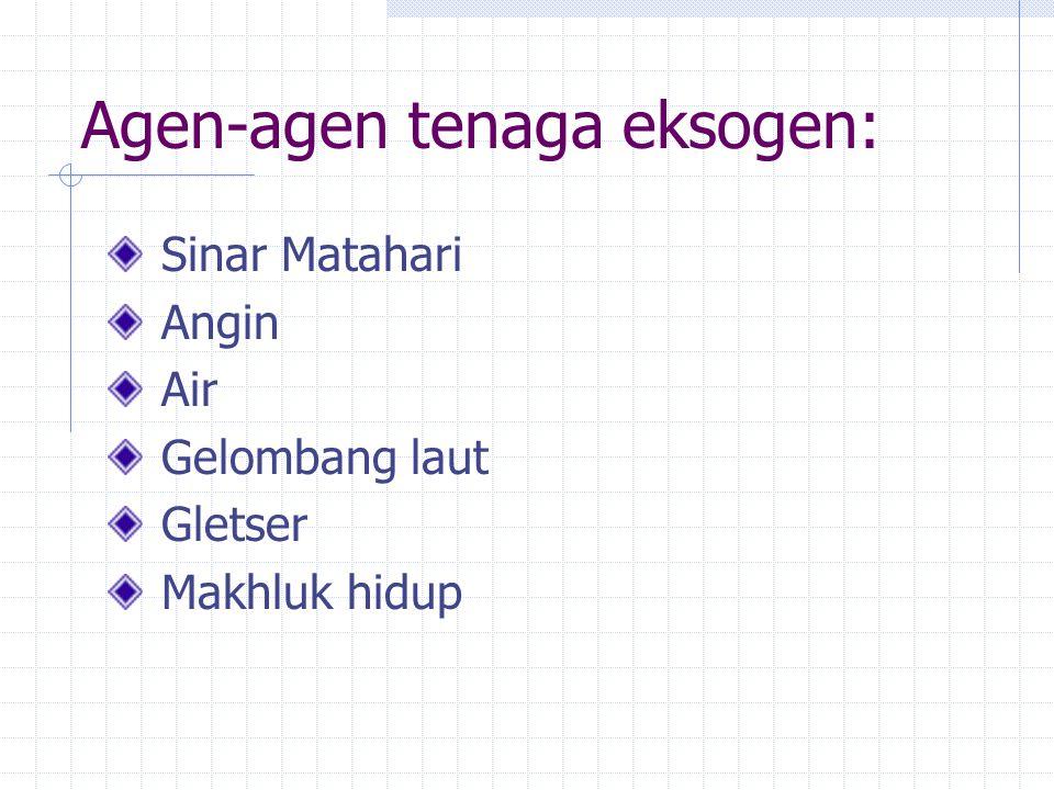 Peristiwa Eksogenetik meliputi: Pelapukan (Weathering) Pengikisan (Erosion) Pengangkutan (Mass Wasting) Pengendapan (Sedimentation)