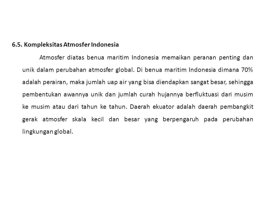 6.5. Kompleksitas Atmosfer Indonesia Atmosfer diatas benua maritim Indonesia memaikan peranan penting dan unik dalam perubahan atmosfer global. Di ben
