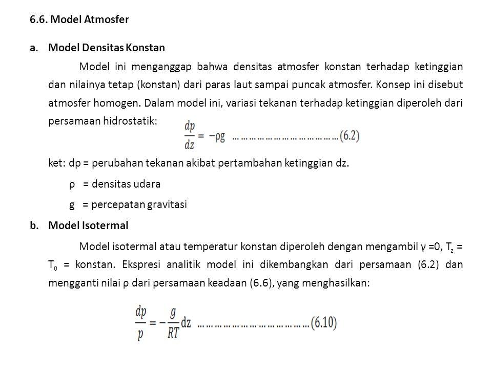 6.6. Model Atmosfer a.Model Densitas Konstan Model ini menganggap bahwa densitas atmosfer konstan terhadap ketinggian dan nilainya tetap (konstan) dar