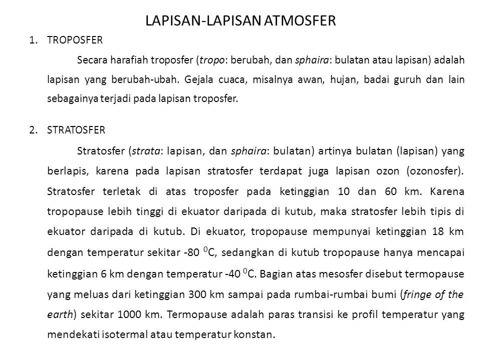 LAPISAN-LAPISAN ATMOSFER 1.TROPOSFER Secara harafiah troposfer (tropo: berubah, dan sphaira: bulatan atau lapisan) adalah lapisan yang berubah-ubah. G