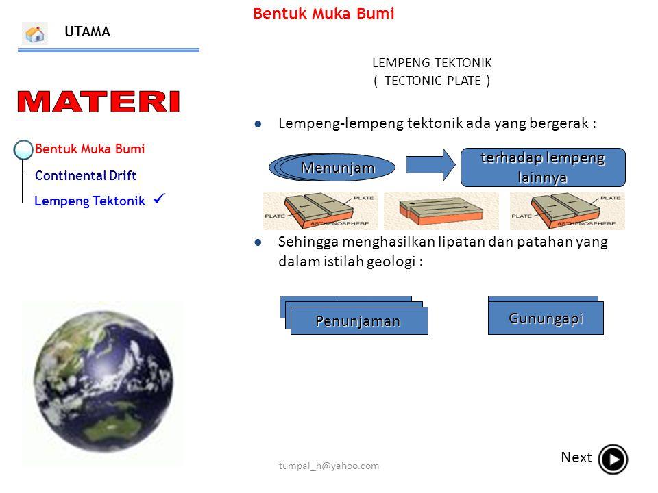 Bentuk Muka Bumi Continental Drift Lempeng Tektonik Bentuk Muka Bumi LEMPENG TEKTONIK ( TECTONIC PLATE ) UTAMA Next Lempeng-lempeng tektonik ada yang