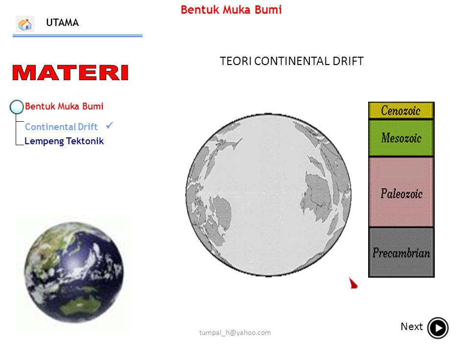 Bentuk Muka Bumi TEORI CONTINENTAL DRIFT UTAMA Next Bentuk Muka Bumi Continental Drift Lempeng Tektonik tumpal_h@yahoo.com