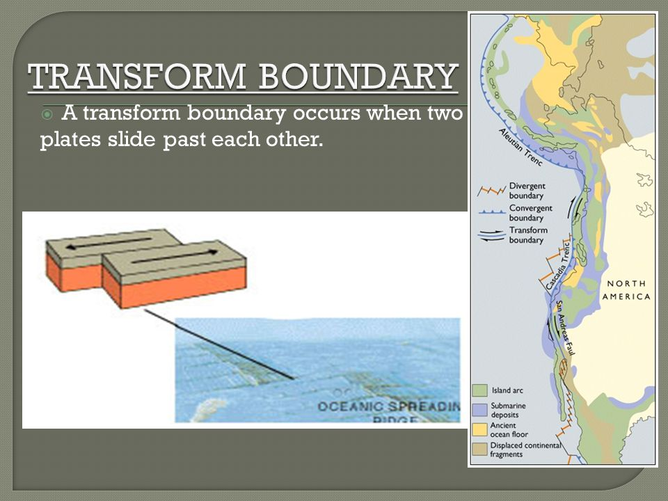 A transform boundary occurs when two plates slide past each other.