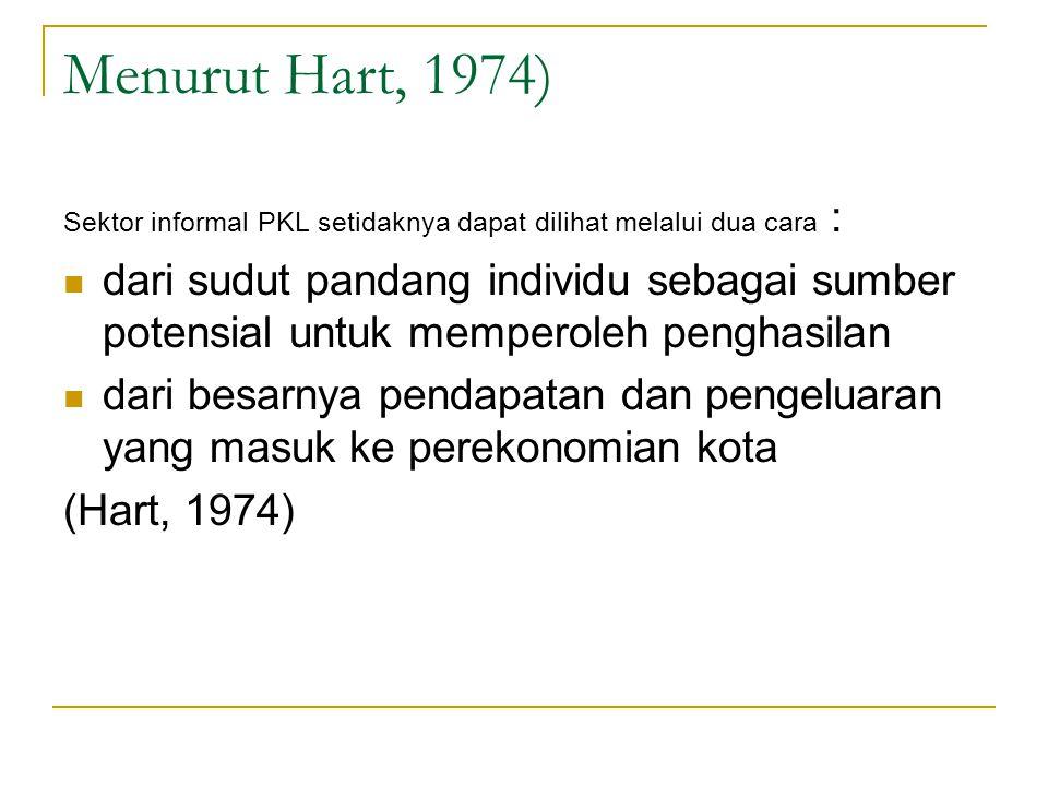 Menurut Hart, 1974) Sektor informal PKL setidaknya dapat dilihat melalui dua cara : dari sudut pandang individu sebagai sumber potensial untuk mempero