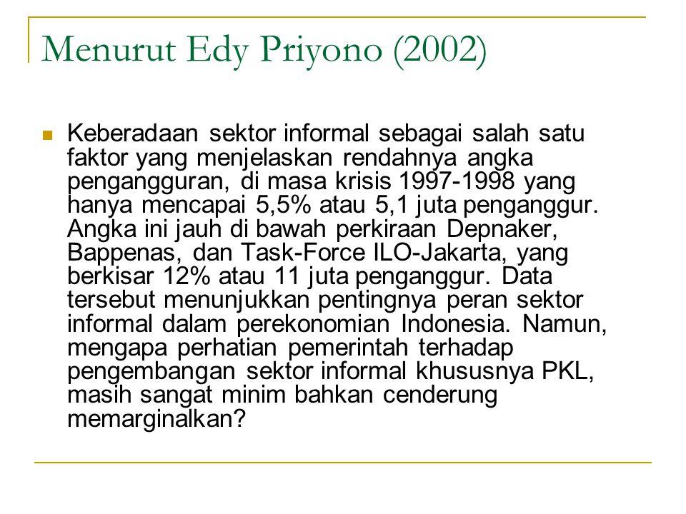 Menurut Edy Priyono (2002) Keberadaan sektor informal sebagai salah satu faktor yang menjelaskan rendahnya angka pengangguran, di masa krisis 1997-199