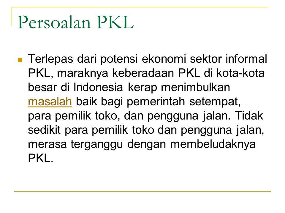 Terlepas dari potensi ekonomi sektor informal PKL, maraknya keberadaan PKL di kota-kota besar di Indonesia kerap menimbulkan masalah baik bagi pemerin