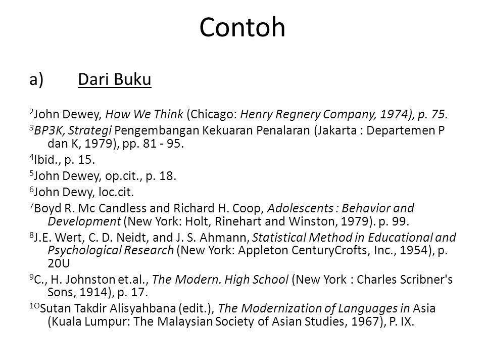 Contoh a)Dari Buku 2 John Dewey, How We Think (Chicago: Henry Regnery Company, 1974), p.