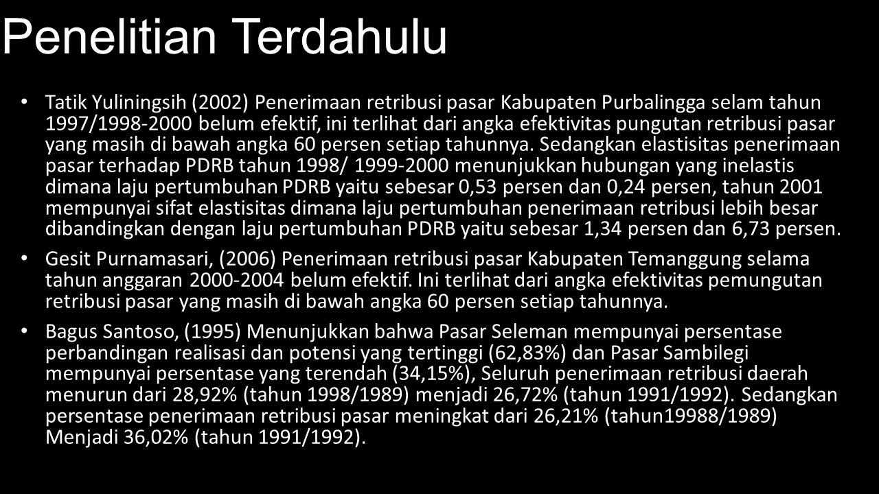 Penelitian Terdahulu Tatik Yuliningsih (2002) Penerimaan retribusi pasar Kabupaten Purbalingga selam tahun 1997/1998-2000 belum efektif, ini terlihat
