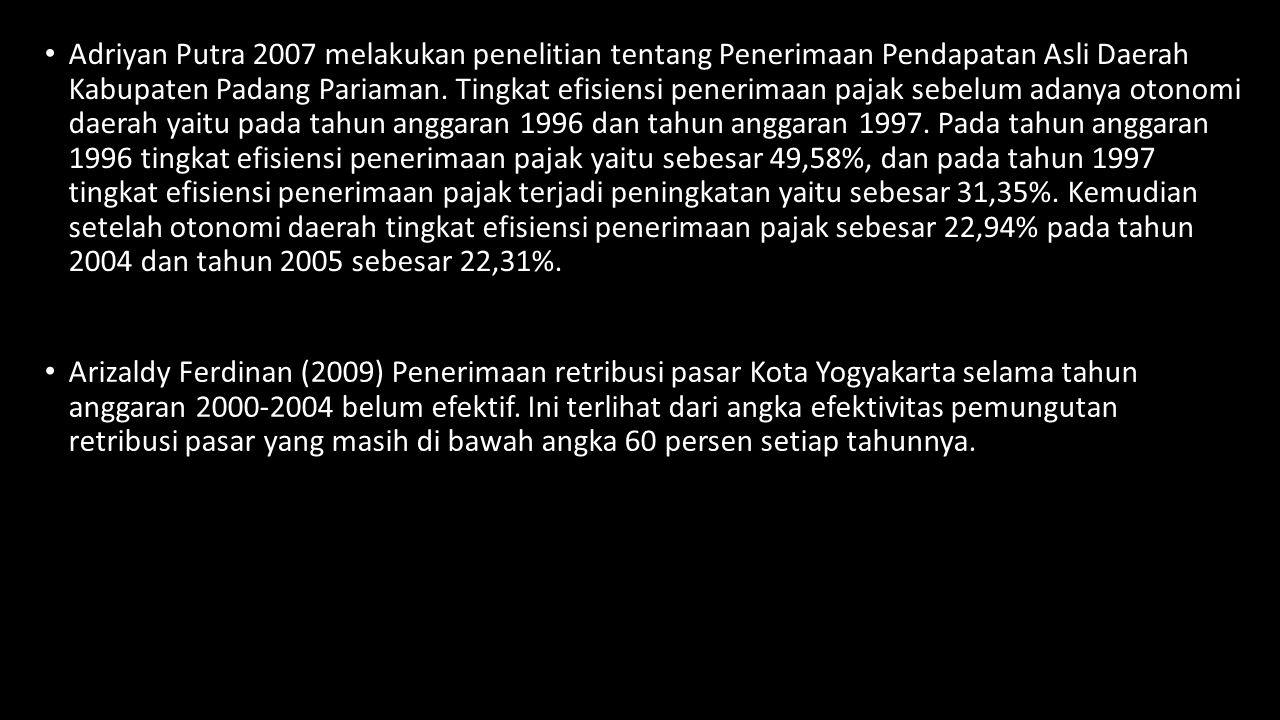 Adriyan Putra 2007 melakukan penelitian tentang Penerimaan Pendapatan Asli Daerah Kabupaten Padang Pariaman. Tingkat efisiensi penerimaan pajak sebelu