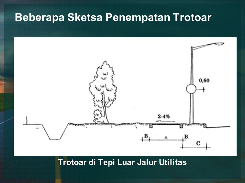 Beberapa Sketsa Penempatan Trotoar Trotoar di Tepi Luar Jalur Utilitas