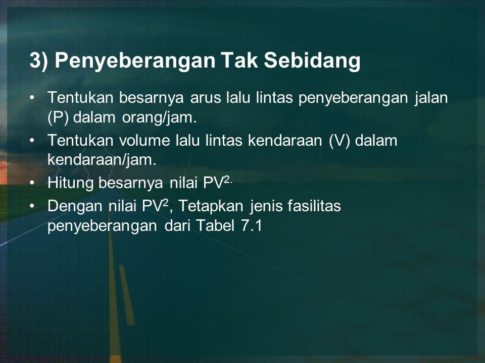 3) Penyeberangan Tak Sebidang Tentukan besarnya arus lalu lintas penyeberangan jalan (P) dalam orang/jam. Tentukan volume lalu lintas kendaraan (V) da