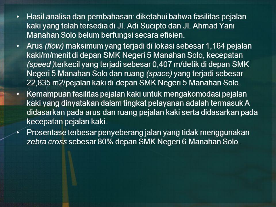 Hasil analisa dan pembahasan: diketahui bahwa fasilitas pejalan kaki yang telah tersedia di Jl. Adi Sucipto dan Jl. Ahmad Yani Manahan Solo belum berf