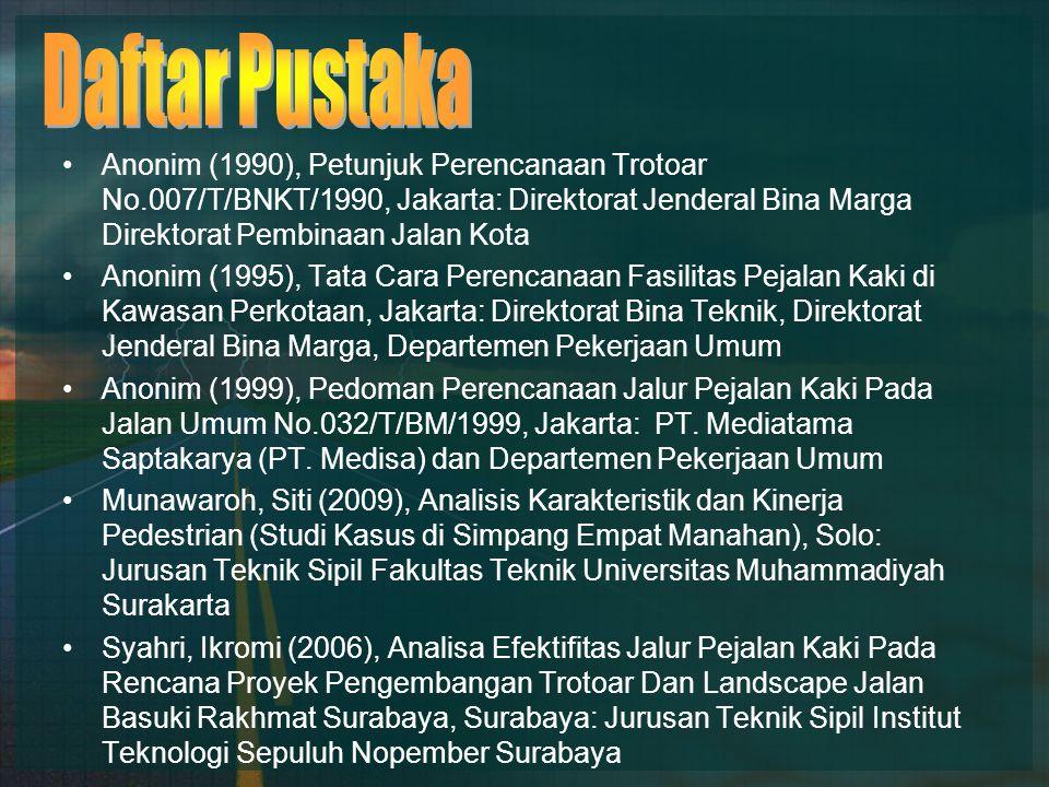 Anonim (1990), Petunjuk Perencanaan Trotoar No.007/T/BNKT/1990, Jakarta: Direktorat Jenderal Bina Marga Direktorat Pembinaan Jalan Kota Anonim (1995), Tata Cara Perencanaan Fasilitas Pejalan Kaki di Kawasan Perkotaan, Jakarta: Direktorat Bina Teknik, Direktorat Jenderal Bina Marga, Departemen Pekerjaan Umum Anonim (1999), Pedoman Perencanaan Jalur Pejalan Kaki Pada Jalan Umum No.032/T/BM/1999, Jakarta: PT.