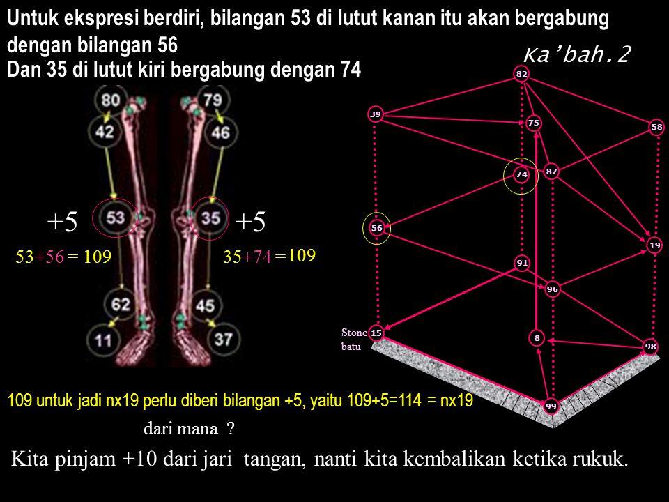 Stone batu 91 8 15 99 96 87 58 98 39 19 75 74 56 109 untuk jadi nx19 perlu diberi bilangan +5, yaitu 109+5=114 = nx19 dari mana ? Kita pinjam +10 dari