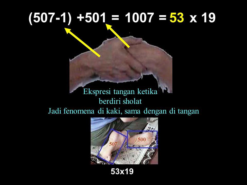 1007 = x 1953(507-1)+501 = Ekspresi tangan ketika berdiri sholat Jadi fenomena di kaki, sama dengan di tangan 53x19