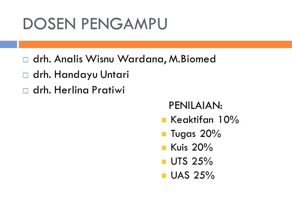 DOSEN PENGAMPU  drh. Analis Wisnu Wardana, M.Biomed  drh. Handayu Untari  drh. Herlina Pratiwi PENILAIAN: Keaktifan 10% Tugas 20% Kuis 20% UTS 25%